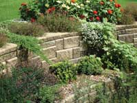 retaining wall finished with capstones