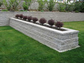 Built in planters in retaining wall