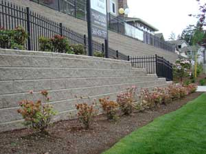 Retaining Wall with Railing on top